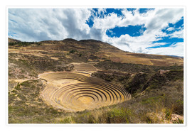 Póster The archaeological site at Moray, travel destination in Cusco region and the Sacred Valley, Peru.