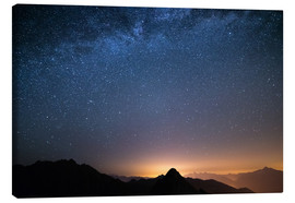 Lienzo  Starry sky and the majestic high mountain range of the Alps, - Fabio Lamanna