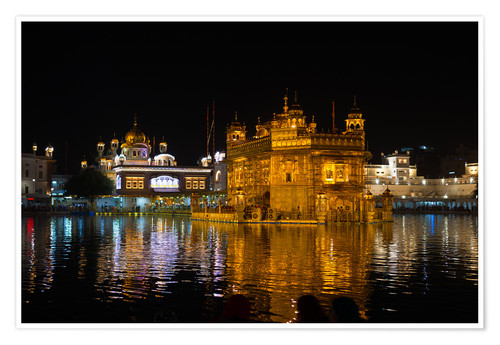 Póster The Golden Temple by night, Amritsar, India