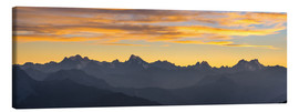 Lienzo  The Alps at sunset, ultra wide panoramic view - Fabio Lamanna