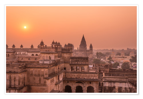 Póster Orchha city at sunset, India