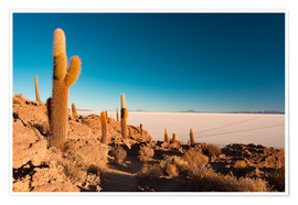 Póster Isla Incahuasi and Uyuni Salt Flat at sunrise, travel destination in Bolivia.