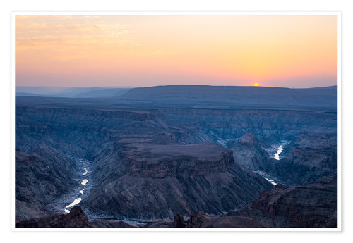Póster Fish River Canyon at sunset, travel destination in Namibia
