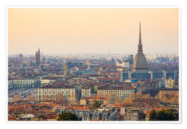 Póster Turin skyline, Torino city, sunset light, Italy