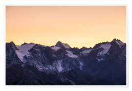 Póster Massif des Ecrins glaciers at sunset, the Alps