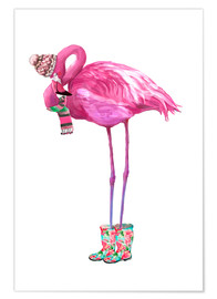 Póster  Pink flamingo with rubber boots - Kidz Collection