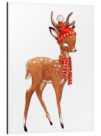 Aluminio-Dibond  Winter deer with scarf and hat - Kidz Collection