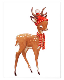 Póster  Winter deer with scarf and hat - Kidz Collection