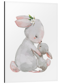 Aluminio-Dibond  Cute white bunnies - mother with child - Kidz Collection