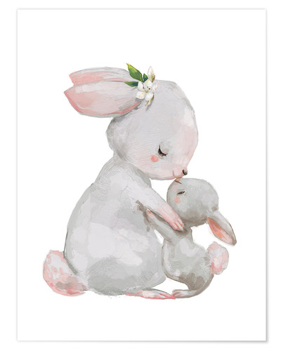 Póster Cute white bunnies - mother with child