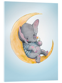 Cuadro de metacrilato  Elefante en la luna - Kidz Collection