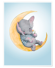 Póster  Elefante en la luna - Kidz Collection