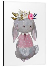 Cuadro de aluminio  Summer bunny with flowers in her hair - Kidz Collection