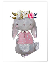 Póster  Summer bunny with flowers in her hair - Kidz Collection