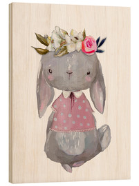 Cuadro de madera  Summer bunny with flowers in her hair - Kidz Collection