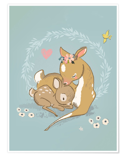 Póster Fawn mother and child