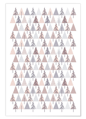 Póster Nordic fir tree pattern