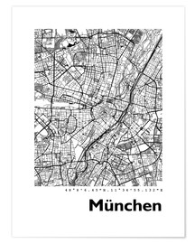 Póster  Mapa de la ciudad de munich - 44spaces