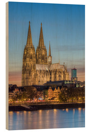 Cuadro de madera  The Cologne Cathedral in the evening - Michael Valjak