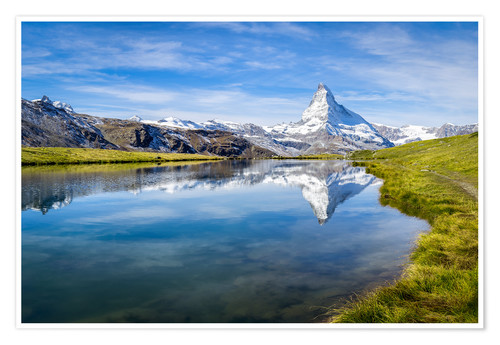 Póster Matterhorn and Stellisee in the Swiss Alps, canton of Valais, Switzerland