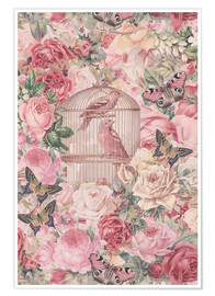 Póster Vintage Bird Cage And Roses