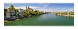 Póster Panorama Basel old town on the Rhine (Switzerland)