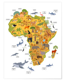 Póster  Animales africanos (inglés) - Kidz Collection