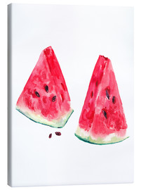 Lienzo  watercolor slices of watermelon