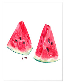 Póster  watercolor slices of watermelon