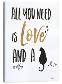 Lienzo  All you need is love and a cat (inglés) - Veronique Charron