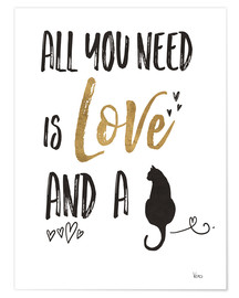 Póster  All you need is love and a cat (inglés) - Veronique Charron