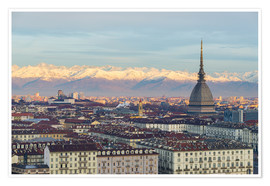 Póster  Turin (Torino) city skyline at sunrise, Italy, snowcapped Alps background - Fabio Lamanna
