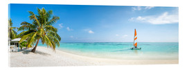 Cuadro de metacrilato  Maldives beach panorama with sailboat - Jan Christopher Becke