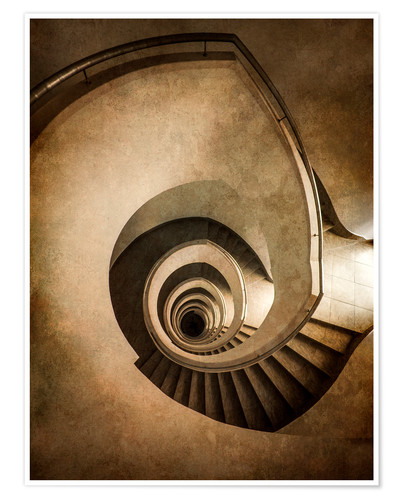 Póster Spiral staircase in brown colors