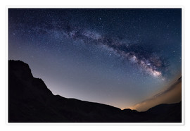 Póster Milky Way arch and starry sky at high altitude in summertime on the Alps