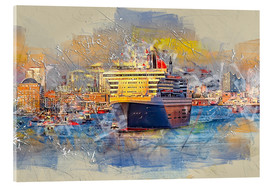 Cuadro de metacrilato  Hamburg Queen Mary II, in the background the Elbphilharmonie - Peter Roder
