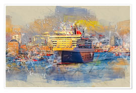 Póster  Hamburg Queen Mary II, in the background the Elbphilharmonie - Peter Roder