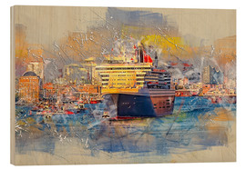 Cuadro de madera  Hamburg Queen Mary II, in the background the Elbphilharmonie - Peter Roder