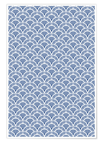 Póster Fish scales pattern in blue