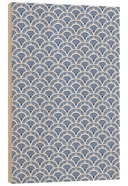 Cuadro de madera  Fish scales pattern in blue