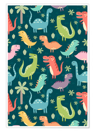 Póster  Colorful dinosaurs - Kidz Collection