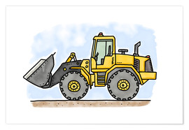 Póster  Hugos wheel loader - Hugos Illustrations