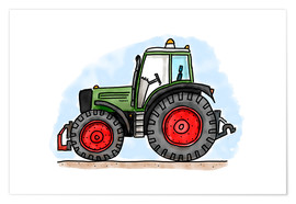 Póster  El tractor de Hugo - Hugos Illustrations