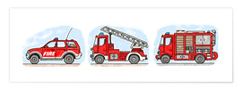 Póster  Hugos fire department set - Hugos Illustrations