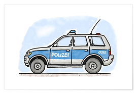 Póster  Hugos police car - Hugos Illustrations