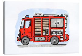 Lienzo  Hugos fire department emergency vehicle - Hugos Illustrations