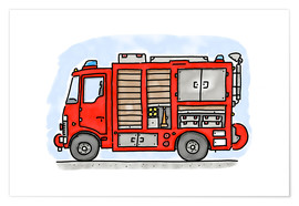 Póster  Hugos fire department emergency vehicle - Hugos Illustrations