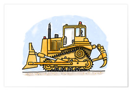 Póster  Hugos bulldozer - Hugos Illustrations