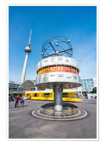Póster World Clock and TV Tower at Alexanderplatz in Berlin, Germany