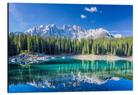 Cuadro de aluminio  Lago di Carezza in South Tyrol with Latemar mountains - Dieter Meyrl